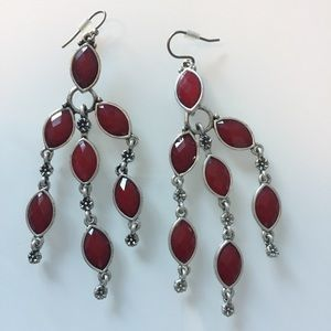 Lucky Brand | Red Set Stone Drop Earrings